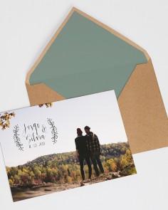 invitación postal nature para boda